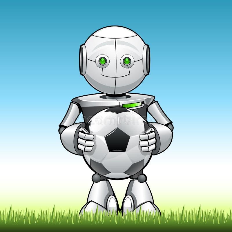 Lustiger Kinderroboter mit Fußball in seinem hend stock abbildung