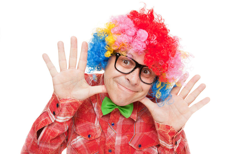Lustiger lächelnder Clown stockbild