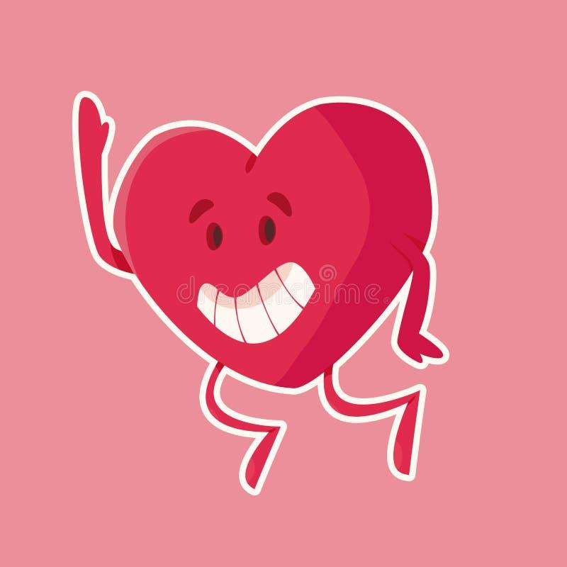 Lustiger lächelnder Herzcharakter veranschaulicht stockfotos