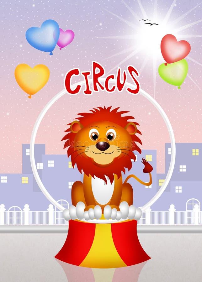 Lustiger Löwe im Zirkus lizenzfreie abbildung