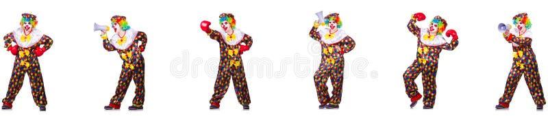Lustiger m?nnlicher Clown mit Boxhandschuhen und Lautsprecher lizenzfreie stockfotos