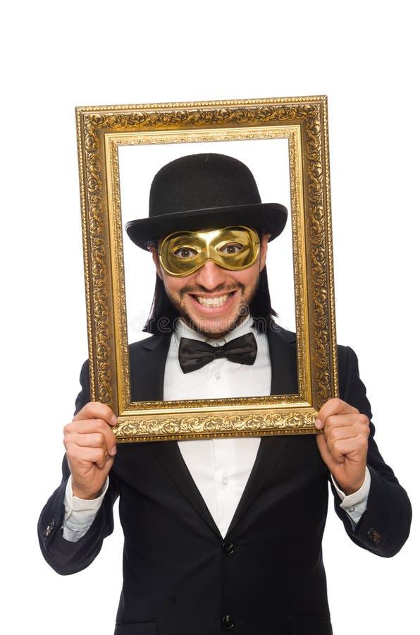 Lustiger Mann Mit Bilderrahmen Auf Weiß Stockfoto - Bild von ...