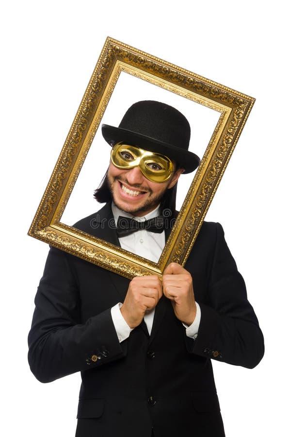 Lustiger Mann Mit Bilderrahmen Auf Weiß Stockbild - Bild von ...
