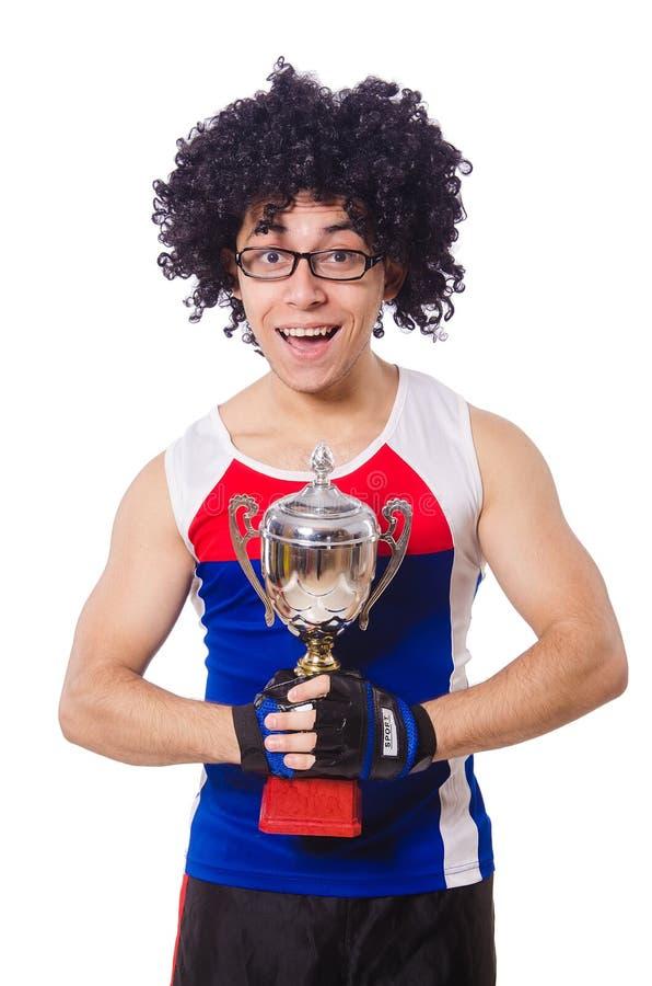 Lustiger Mann, nachdem Goldcup gewonnen worden ist lizenzfreie stockbilder