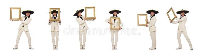 Lustiger Mexikaner in der Klage, die Fotorahmen lokalisiert auf Wei? h?lt stockfotos