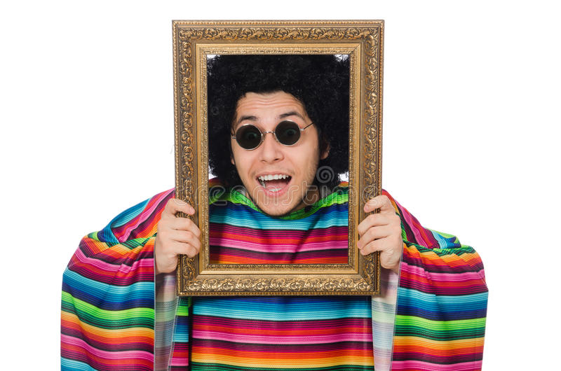 Lustiger Mexikaner mit Fotorahmen stockfoto