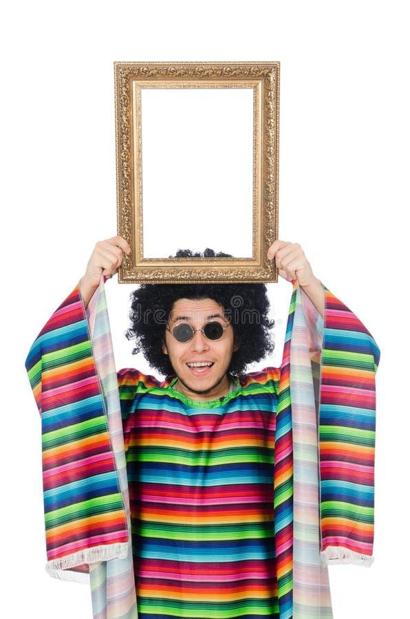 Lustiger Mexikaner mit Fotorahmen lizenzfreie stockfotografie