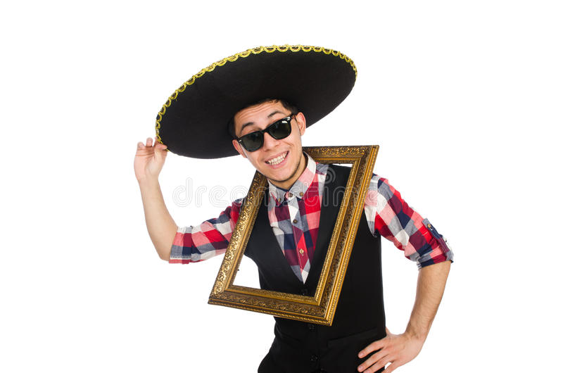 Lustiger Mexikaner mit Sombrero lizenzfreies stockbild