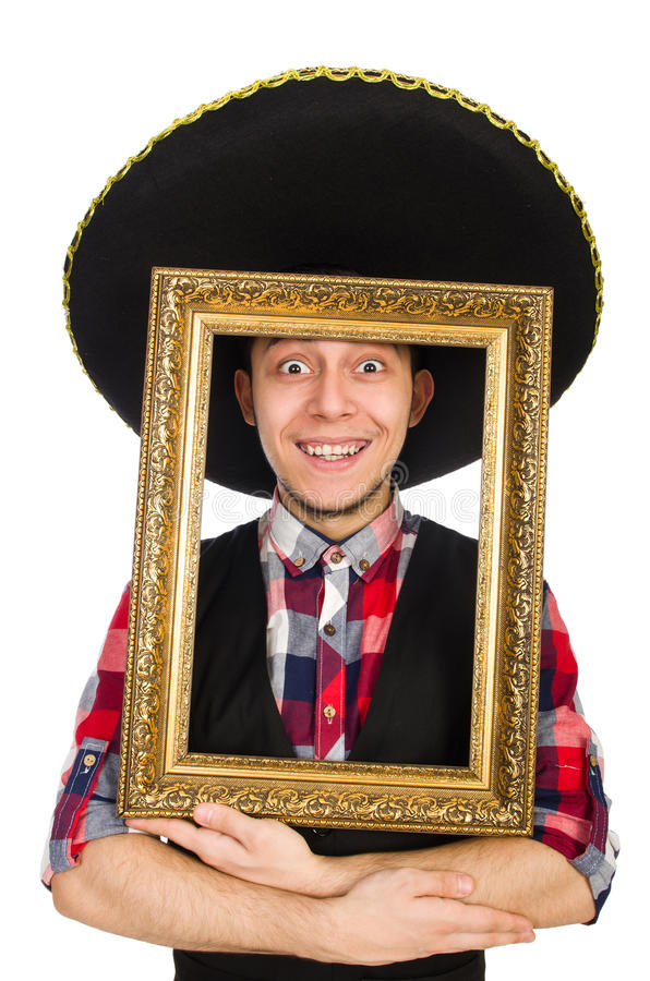 Lustiger Mexikaner mit Sombrero stockfoto