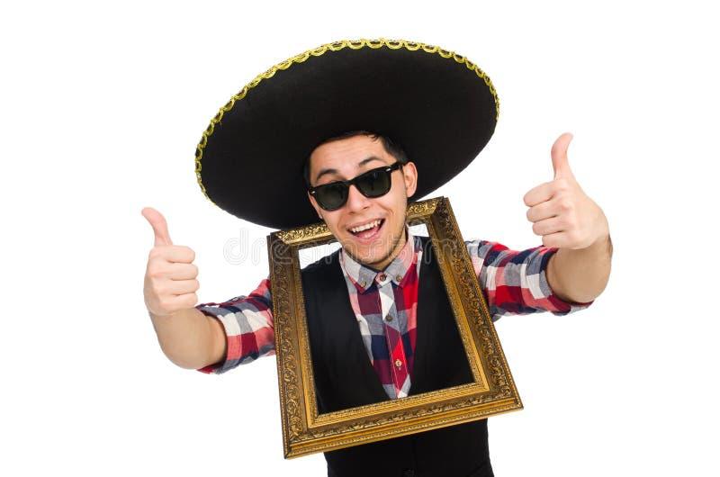 Lustiger Mexikaner mit Sombrero lizenzfreie stockfotos