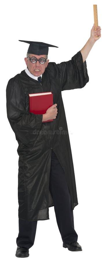 Lustiger mittlerer verärgerter Schullehrer College Professor Pointing lokalisierte stockbild