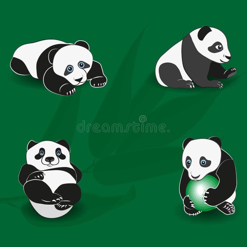 Lustiger Panda auf dem Hintergrund der Bambusniederlassung set lizenzfreie abbildung