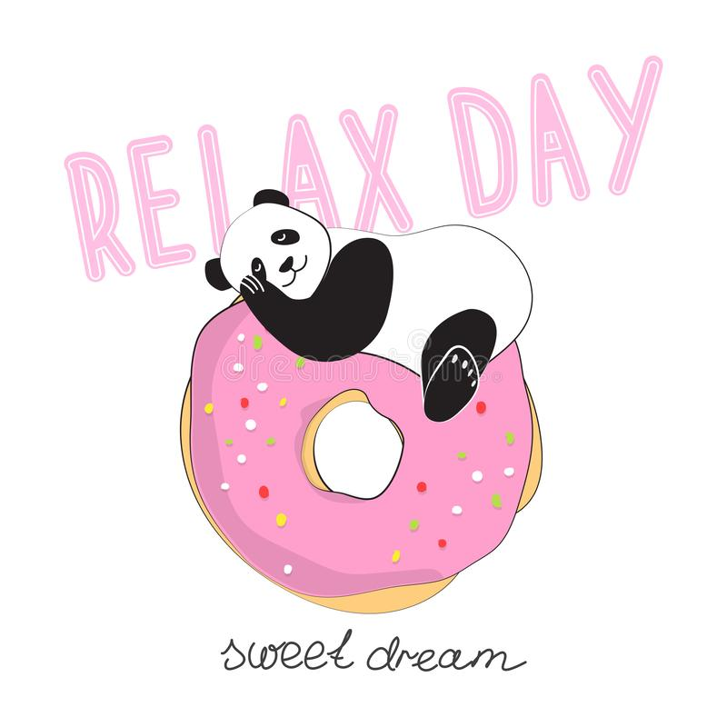 Lustiger Panda auf der komischen Art des Donuts Tag des Entspannung Vektorillustrationsentwurf für Aufkleber, Flecken, Plakat, pe lizenzfreie abbildung