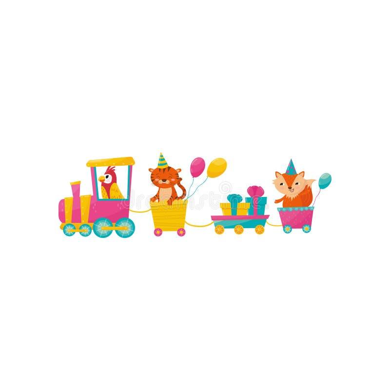 Lustiger Papagei, Tiger und Fuchs mit Ballonen auf Zug Geschenkboxen in wenigem Lastwagen Karikaturtiercharaktere bunt lizenzfreie abbildung