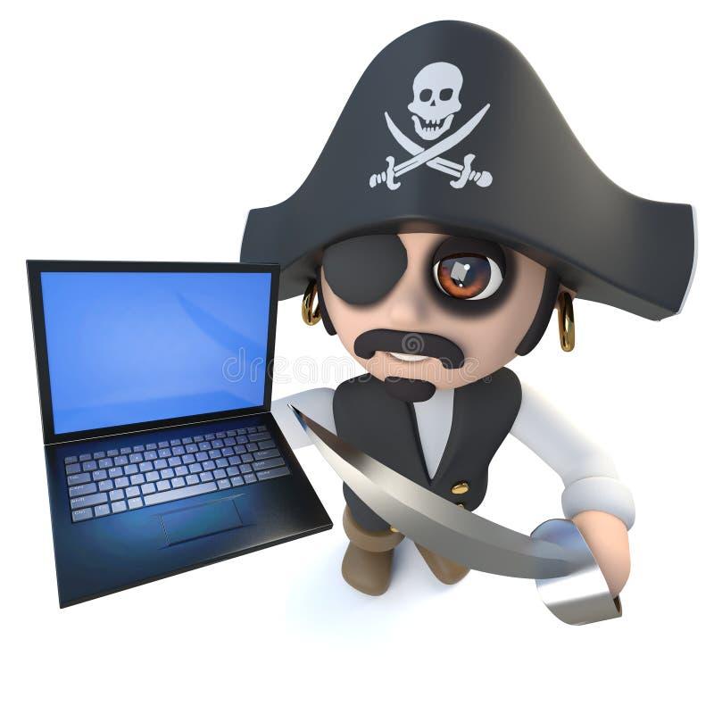 lustiger Piraten-Kapitäncharakter der Karikatur 3d, der ein Laptop-Computer Gerät hält vektor abbildung