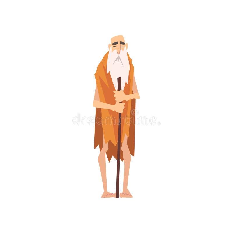 Lustiger prähistorischer bärtiger Mann, ursprünglicher Stone Age-Höhlenbewohner in der Tierhaut-Zeichentrickfilm-Figur-Vektor-Ill stock abbildung