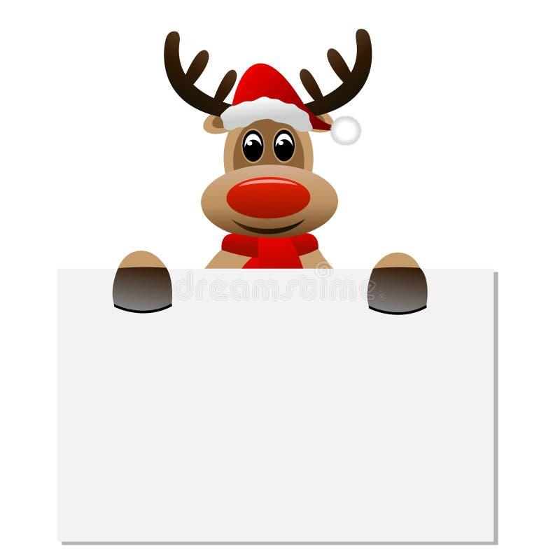 Lustiger Ren Weihnachtshut, der eine leere Fahne hält lizenzfreie abbildung
