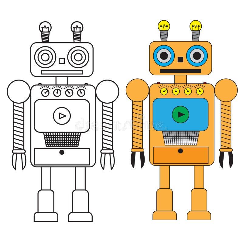 Lustiger Roboter in der flachen Art auf weißem Hintergrund vektor abbildung
