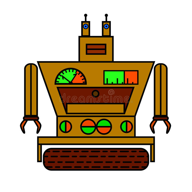 Lustiger Roboter in der flachen Art auf weißem Hintergrund stock abbildung