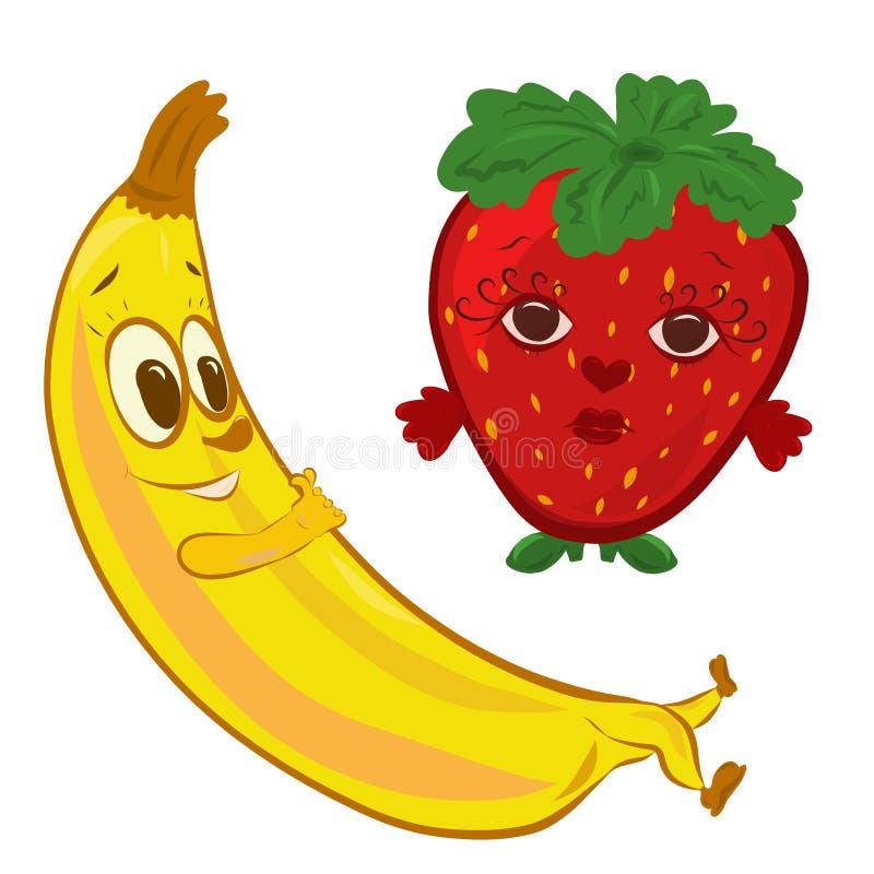 Lustiger romantischer Nachtisch, Banane und Erdbeere mit Gesichtern vektor abbildung
