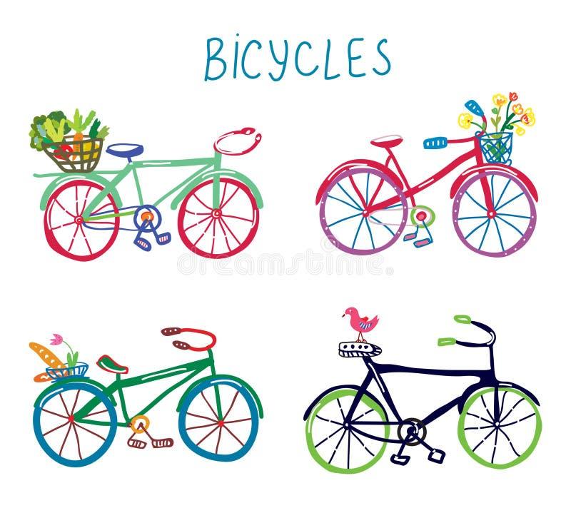 Lustiger romantischer Satz der Fahrräder mit Blumen und Vogel stock abbildung