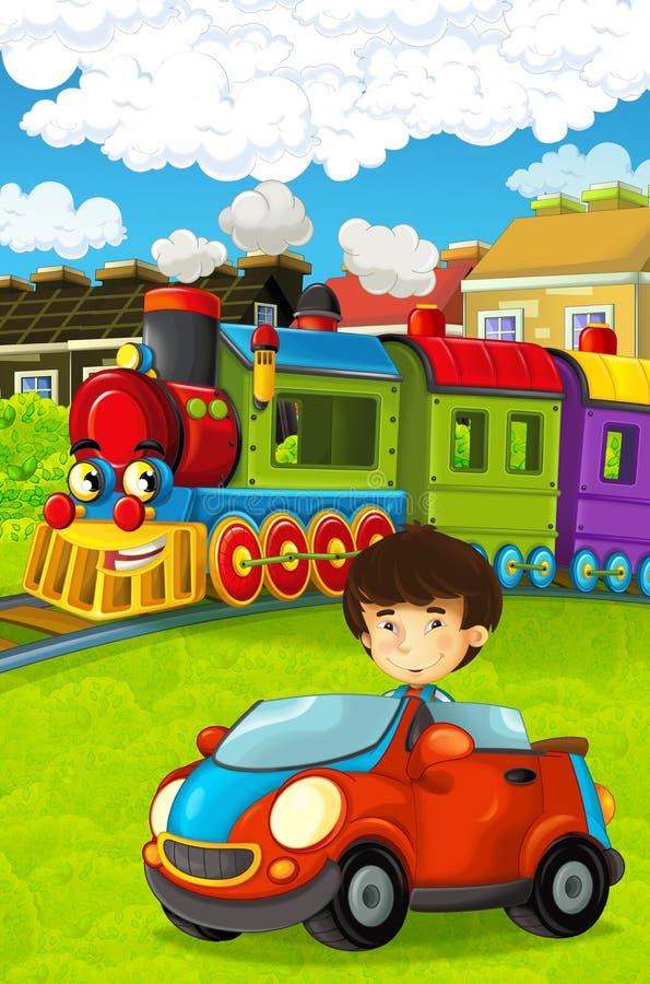 Lustiger schauender Dampfzug der Karikatur, der die Stadt und das Kind fahren in Spielzeugauto vor ihm durchläuft lizenzfreie abbildung