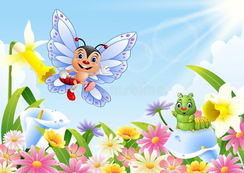 Lustiger Schmetterling und Gleiskettenfahrzeug auf Blumenfeld lizenzfreie abbildung