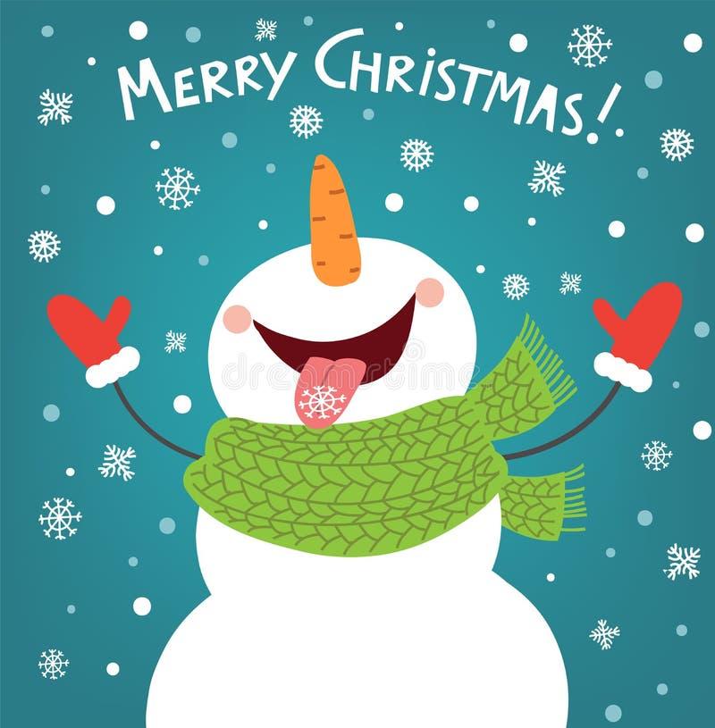 Lustiger Schneemann, der die Schneeflocken genießt Ein snow-covered Berg, ein Schneemann und ein Weihnachtsbaum in der Nacht lizenzfreie abbildung