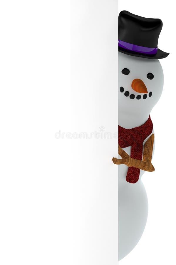 Lustiger Schneemann, der durch freien Raum sich versteckt vektor abbildung