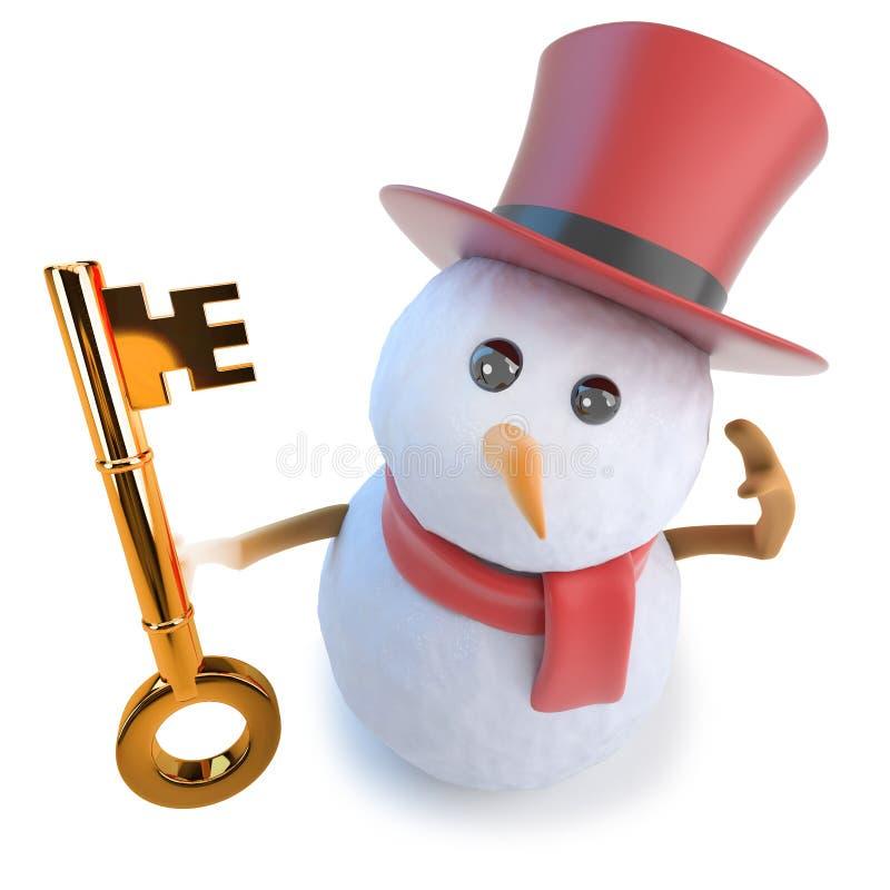 lustiger Schneemann der Karikatur 3d im Zylinder, der einen Goldschlüssel der Sicherheit und der Freiheit hält stock abbildung