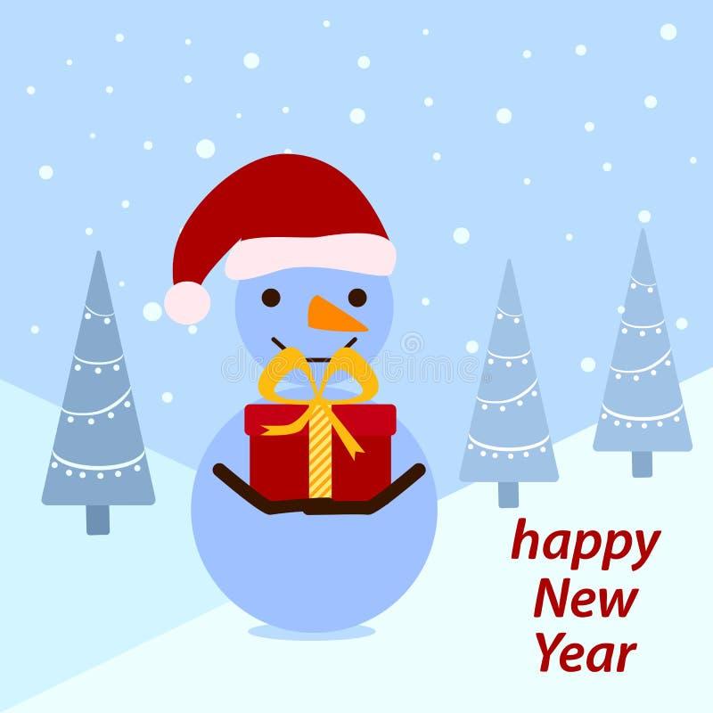 Lustiger Schneemann mit einem roten Geschenk auf dem Winterwaldhintergrund vektor abbildung