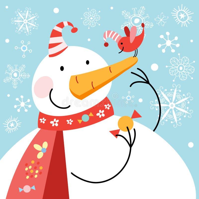 Lustiger Schneemann mit Vogel stock abbildung