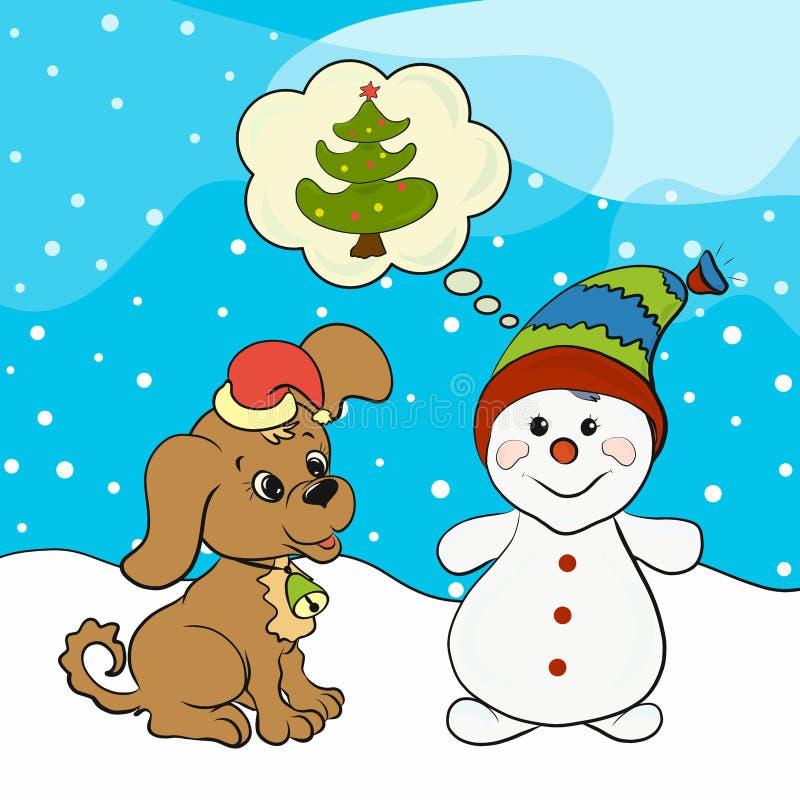 Lustiger Schneemann und netter Welpe träumen über den Weihnachtsbaum vektor abbildung