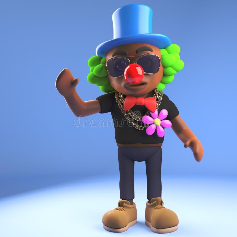 Lustiger schwarzer Hip-Hop-Rapper gekleidet als Clown in der Perücke und in der roten Nase, Illustration 3d stock abbildung