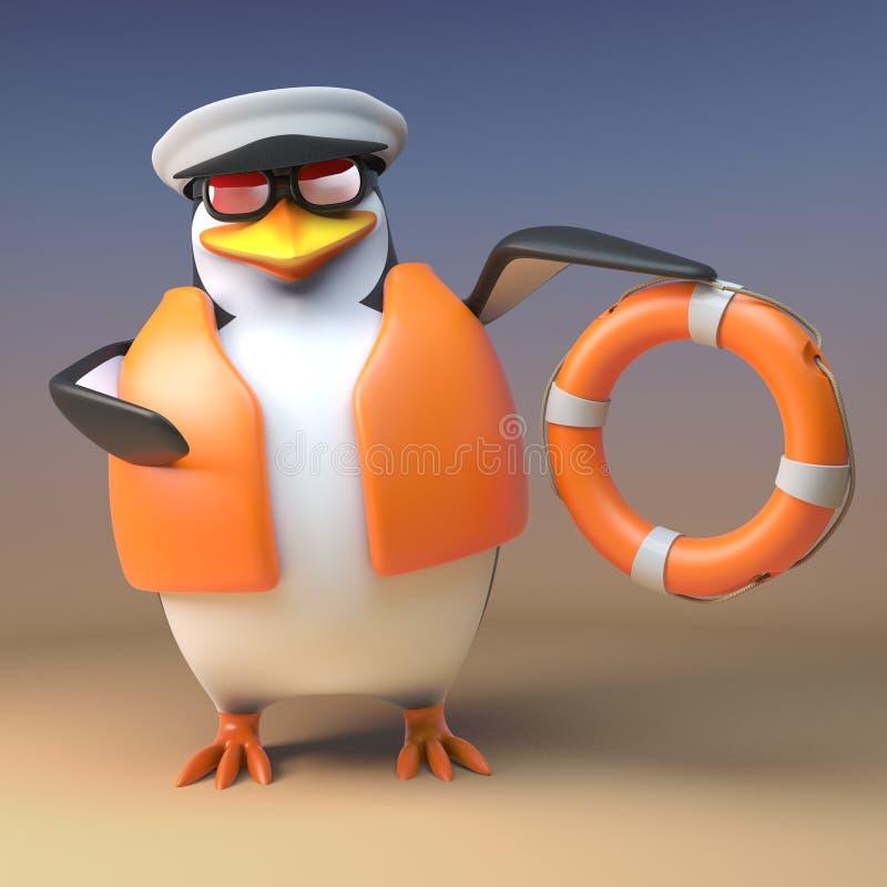 Lustiger Seemannkapitän des Pinguins 3d kommt zur Rettung mit seinem buouyancy Rettungsring, Illustration 3d stock abbildung