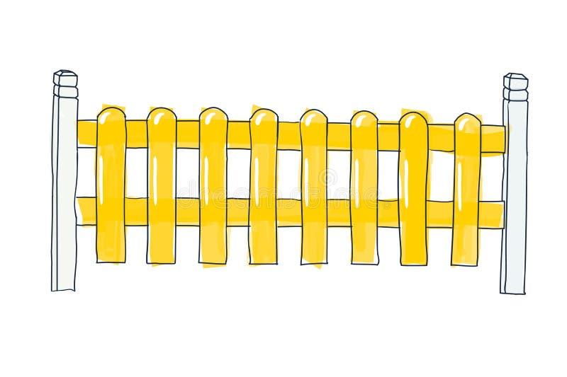 Lustiger Skizzenzaun von den flachen Latten, gemalt in der gelben Vektorskizze in der Gekritzelart des Stiftes auf Papier mit Rau vektor abbildung