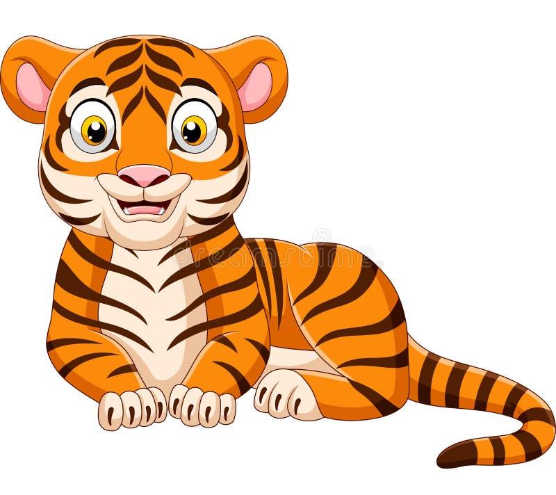 Lustiger Tiger der Karikatur lokalisiert auf weißem Hintergrund lizenzfreie abbildung