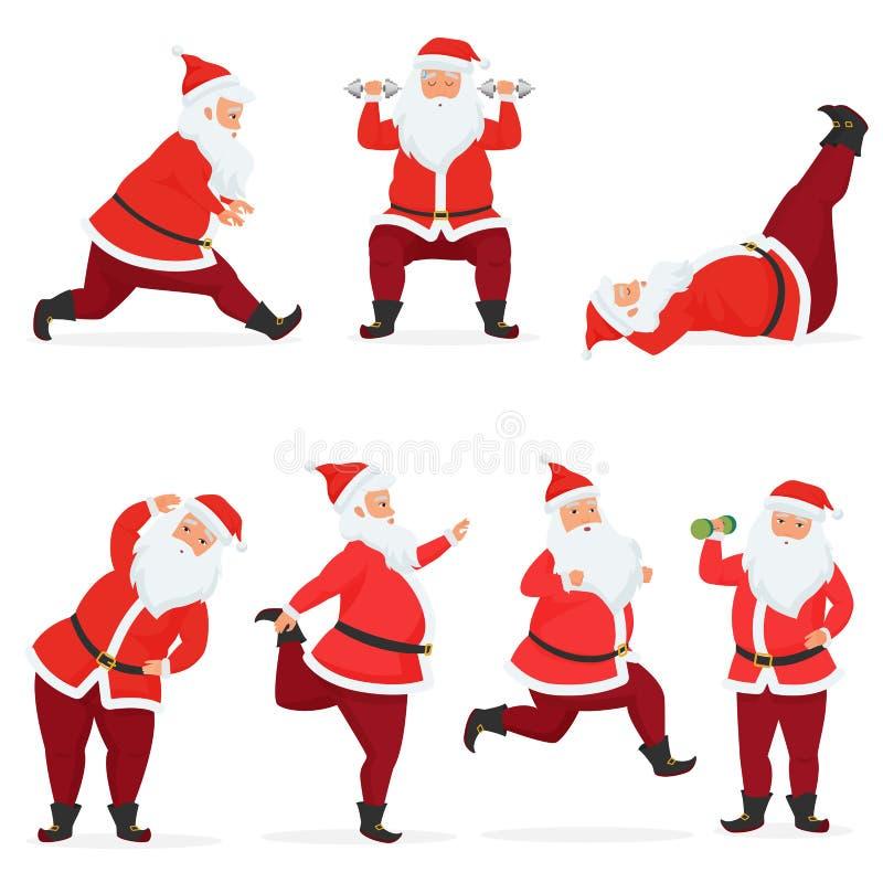 Lustiger und netter Santa Claus-Satz des Vektors tut Turnhallenübungen mit den Dummköpfen und Barbell, die lokalisiert werden Spo vektor abbildung