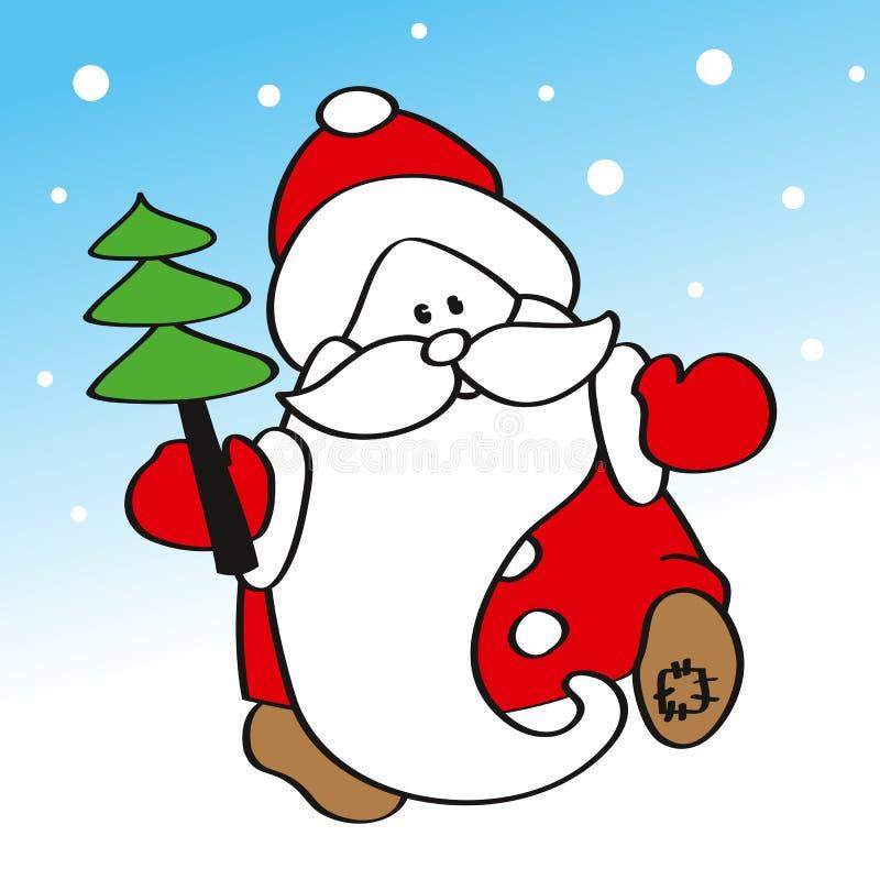 Lustiger Vater Frost, das einen Weihnachtsbaum trägt vektor abbildung