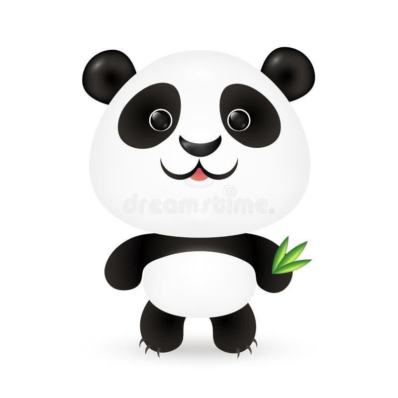 Lustiger Vektorpanda mit Bambusblättern vektor abbildung