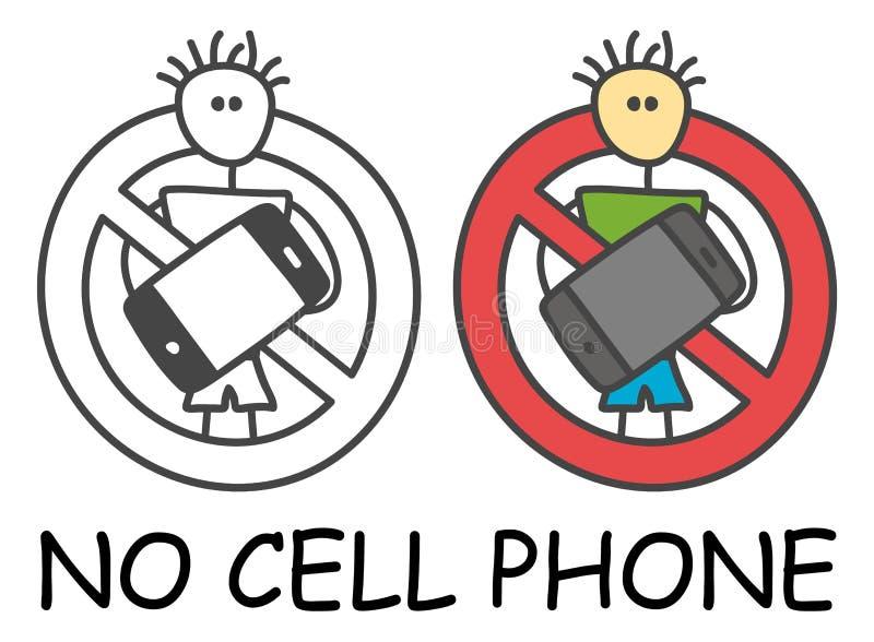 Lustiger Vektorstockmann mit einem Mobile in der Art der Kinder Kein Handy kein rotes Verbot des Telefonzeichens Stoppen Sie Symb lizenzfreie abbildung