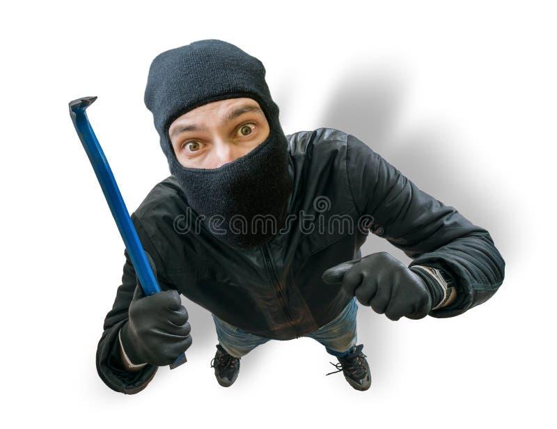 Lustiger verdeckter Räuber oder Dieb Ansicht von der Spitze oder von versteckter Kamera stockfotografie