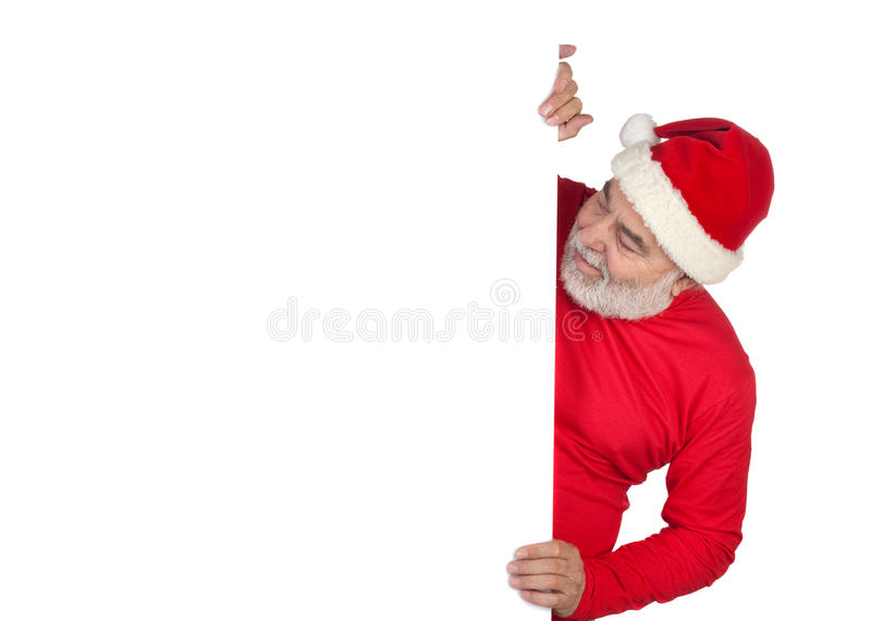Lustiger Weihnachtsmann mit Plakat lizenzfreies stockfoto
