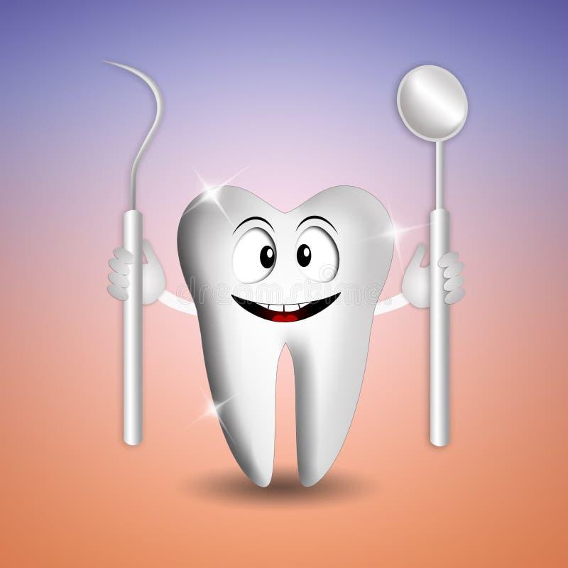 Lustiger Zahn mit Zahnarztwerkzeugen vektor abbildung