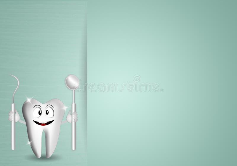 Lustiger Zahn mit Zahnarztwerkzeugen stock abbildung