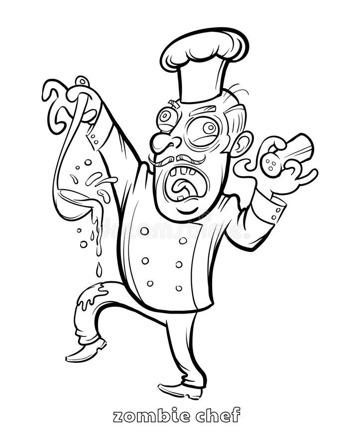 Lustiger Zombie-Chef Coloring Page stock abbildung