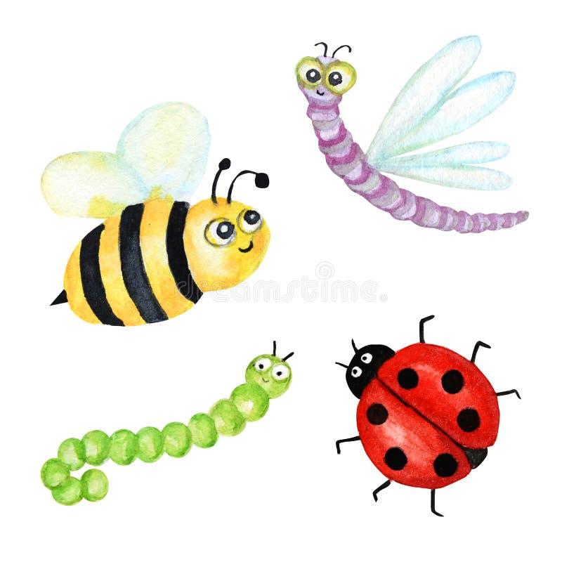 Lustiges Aquarell, helle Karikaturinsektensammlung Wespe, Biene, Hummel, Wurm, Gleiskettenfahrzeug, Marienkäfer, Libelle lizenzfreies stockfoto