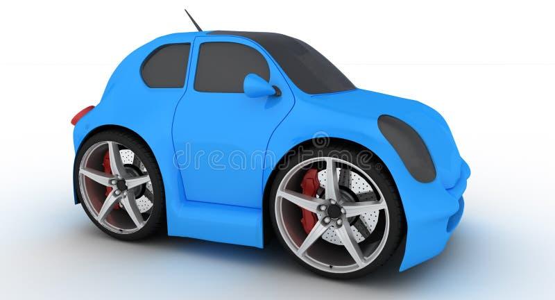 Lustiges blaues Auto auf weißem Hintergrund lizenzfreie abbildung