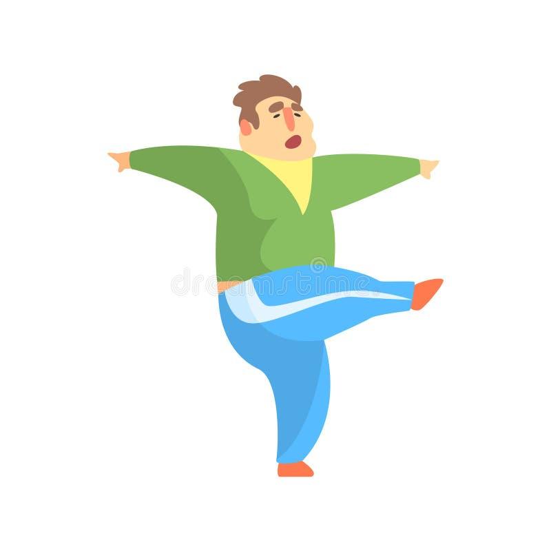 Lustiges Chubby Man Character Doing Gym-Training Kcking mit Bein-Illustration lizenzfreie abbildung