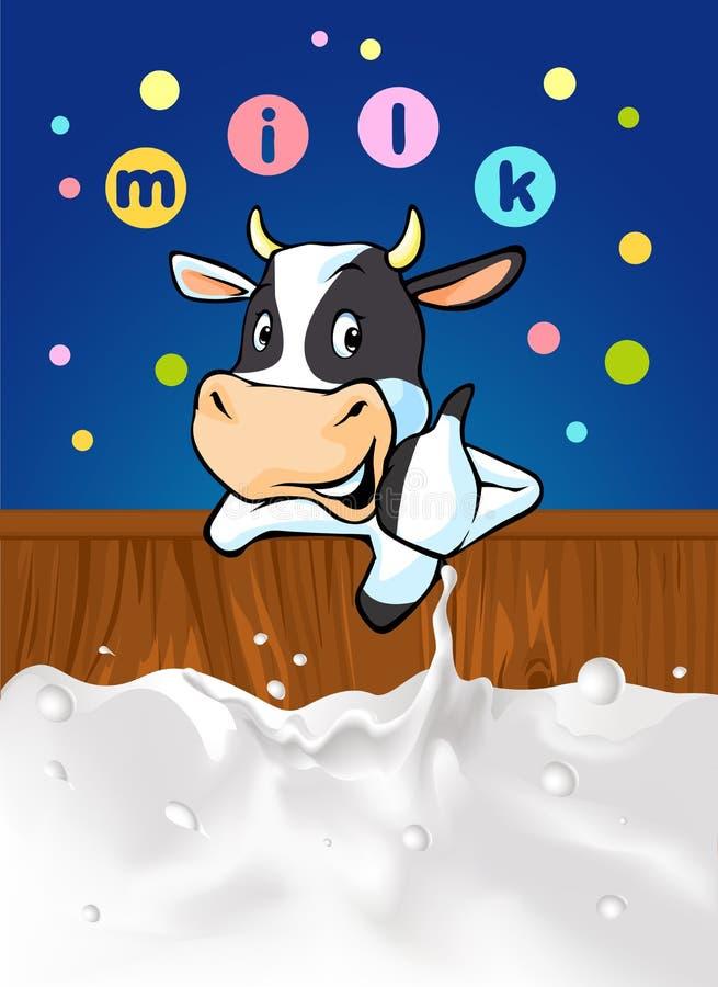 Lustiges Design mit der Kuh, die große Milch empfiehlt - vector Illustration stock abbildung